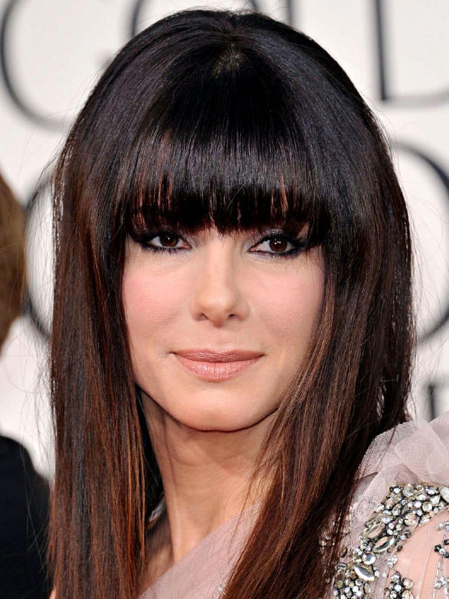 Sandra Bullock square face bangs
