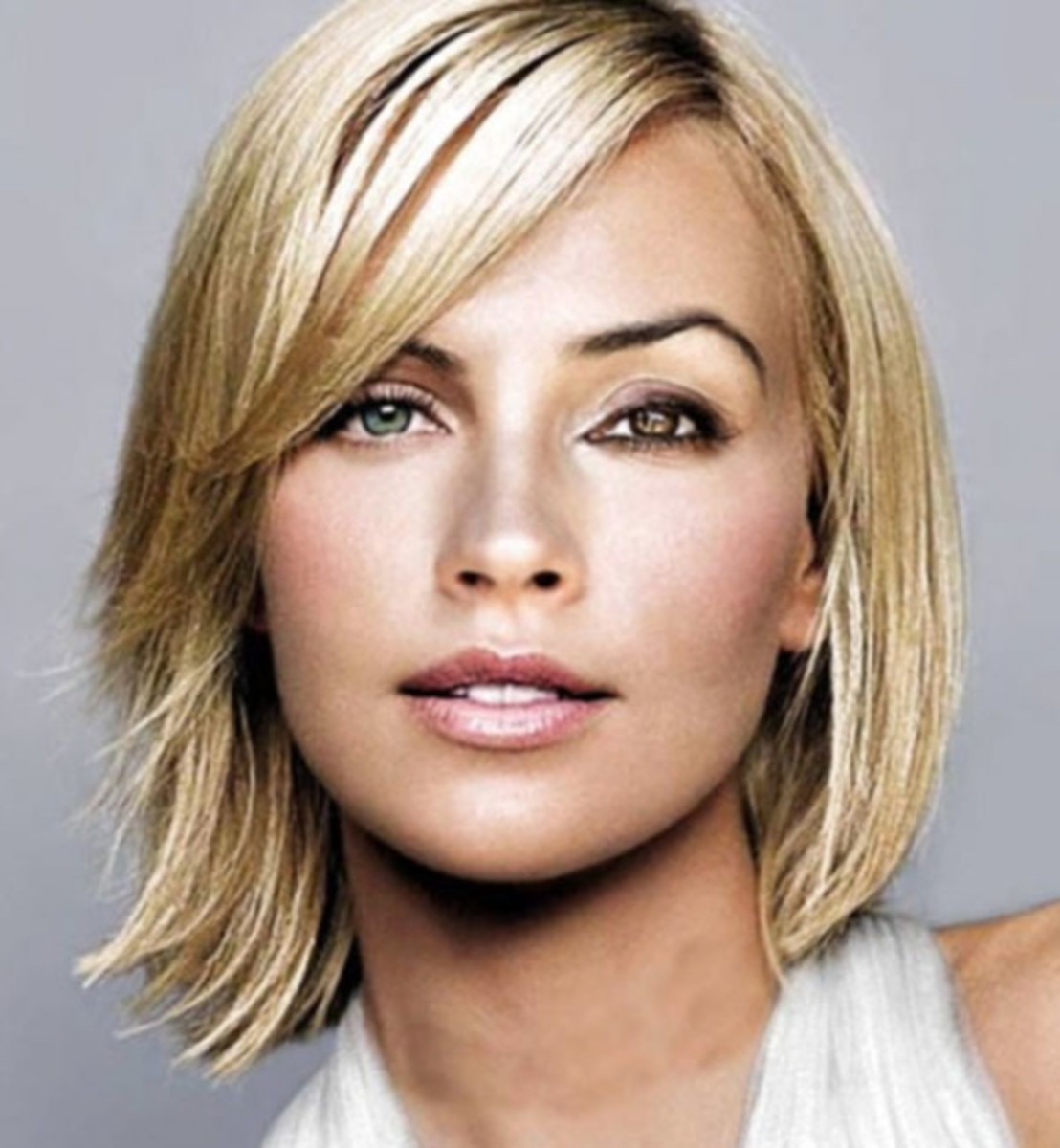 Blonde straight long bob haircut