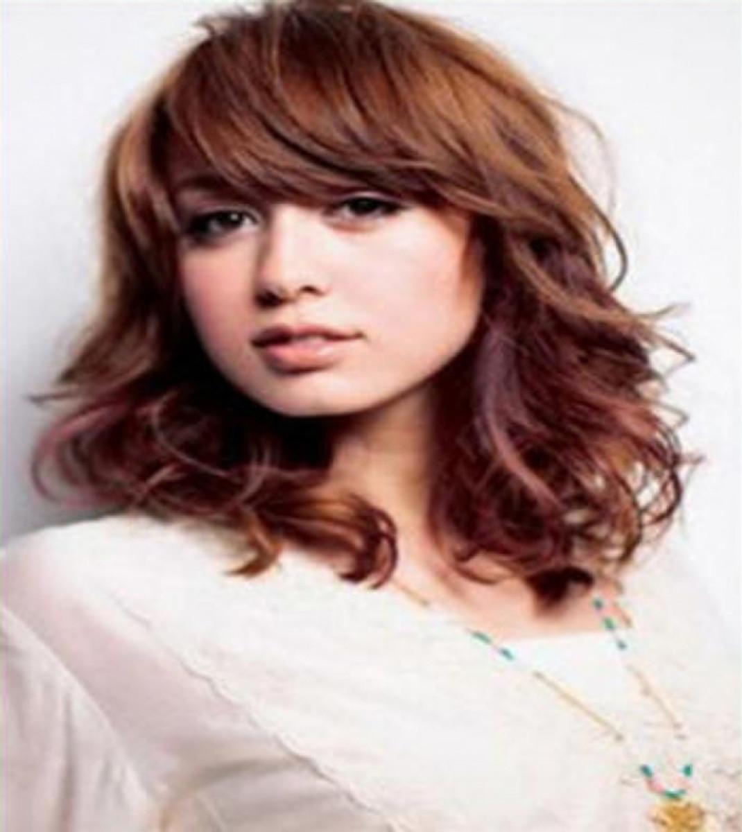 Shoulder length golden brown hair