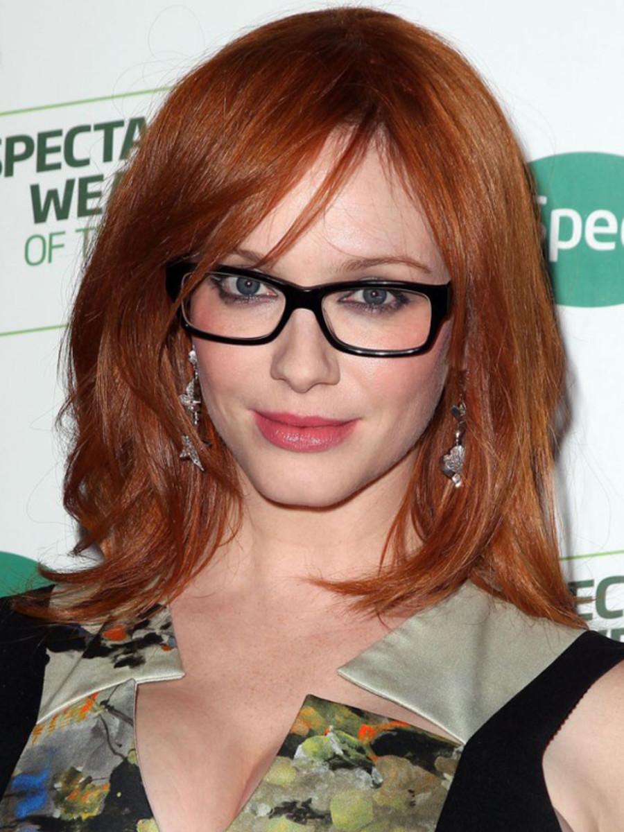 Christina Hendricks glasses hairstyle