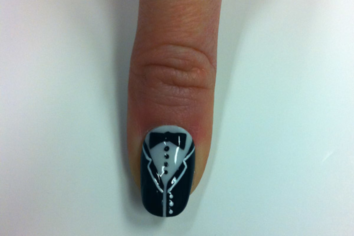 Bond girl nail art by Sally Hansen - tuxedo