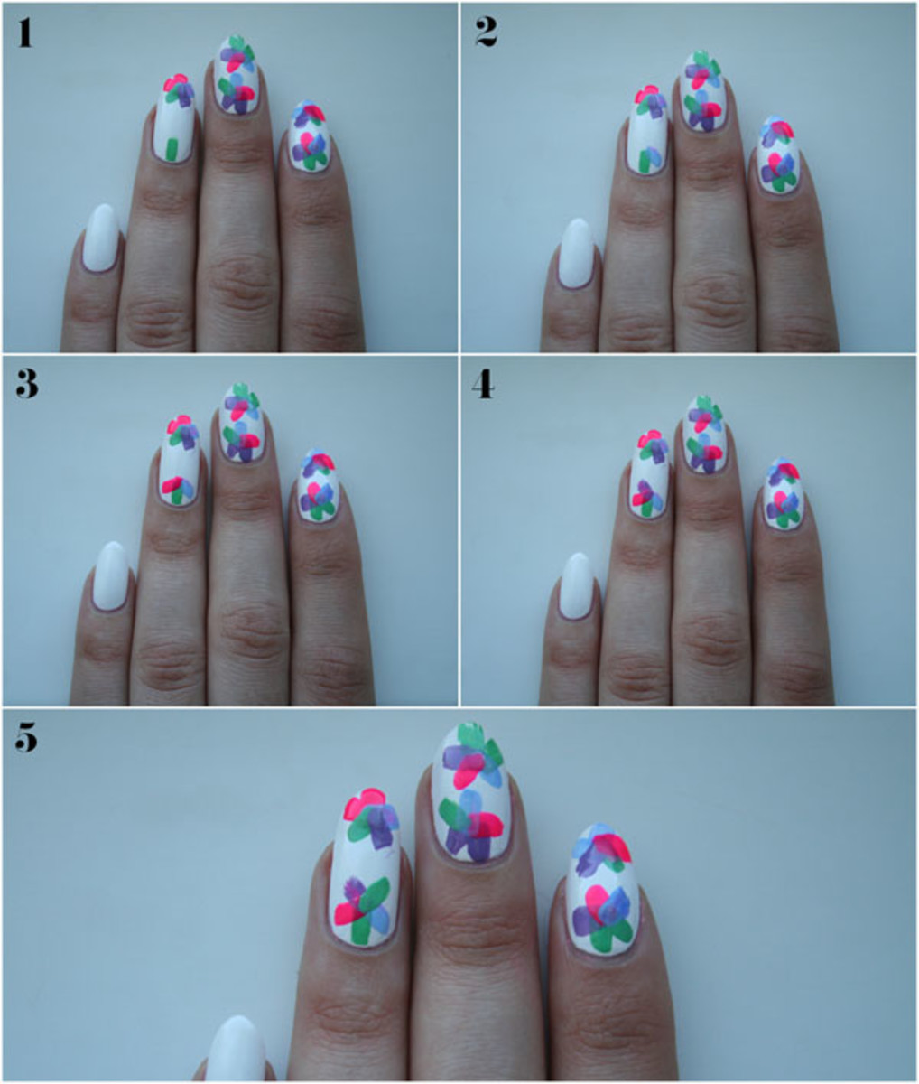 Floral nail art tutorial - step 2