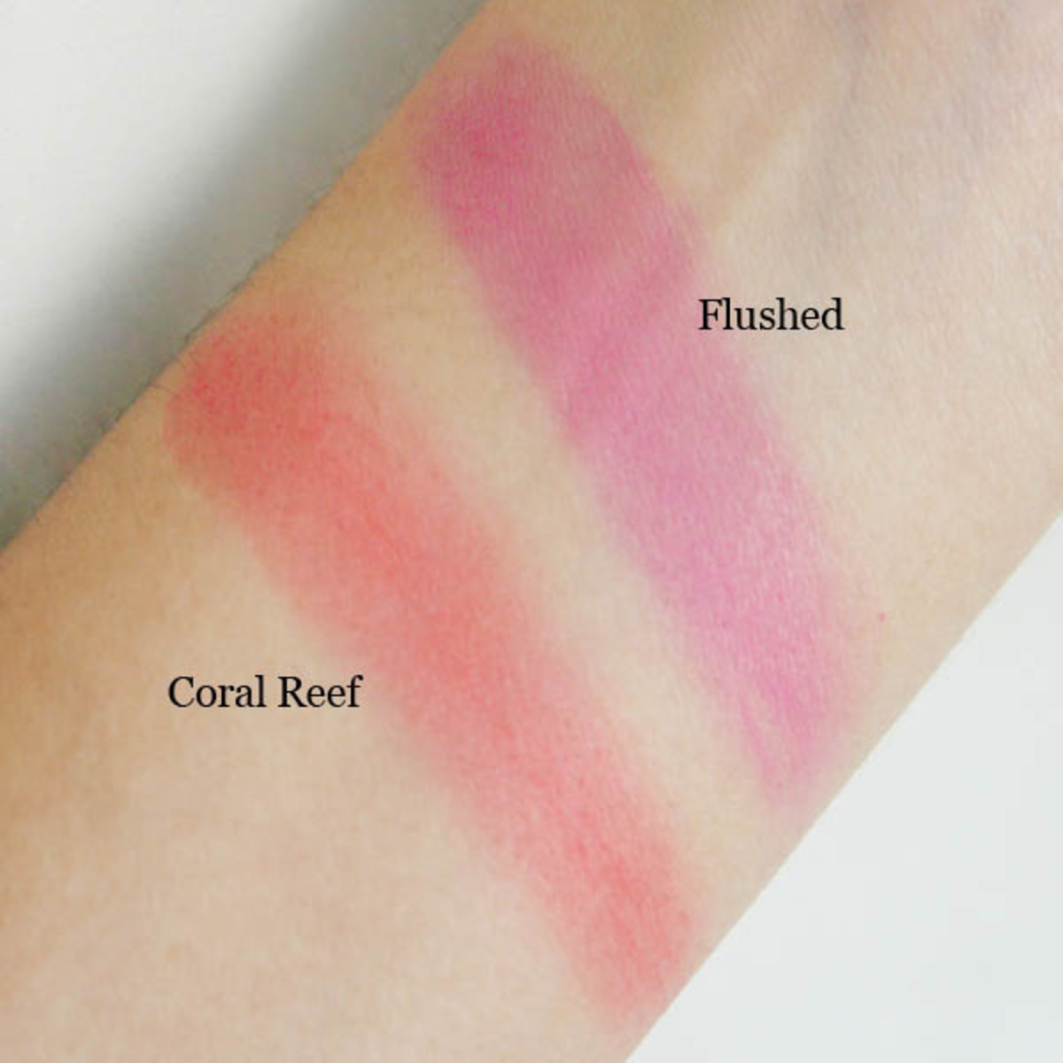 Revlon Cream Blush in Coral Reef and Flushed swatches