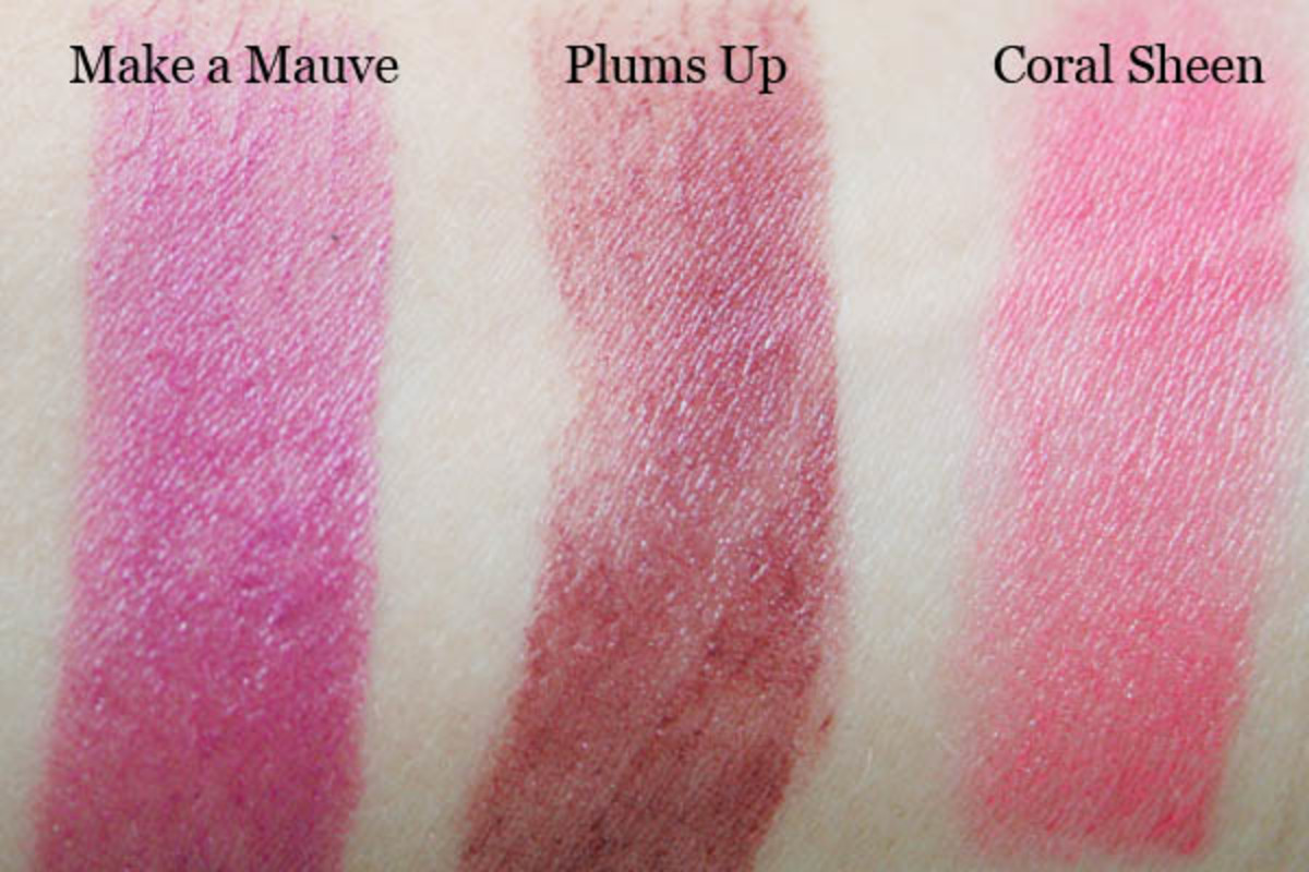Maybelline Master Glaze Blush in Make a Mauve, Plums Up and Coral Sheen unblended swatches