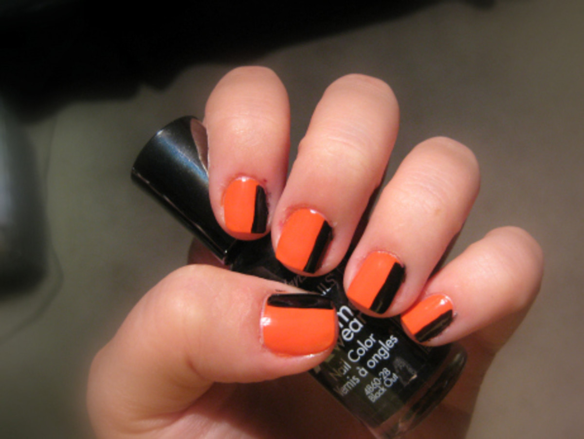 Try this orange and black nail art tutorial for halloween halloween mani step 2 prinsesfo Choice Image