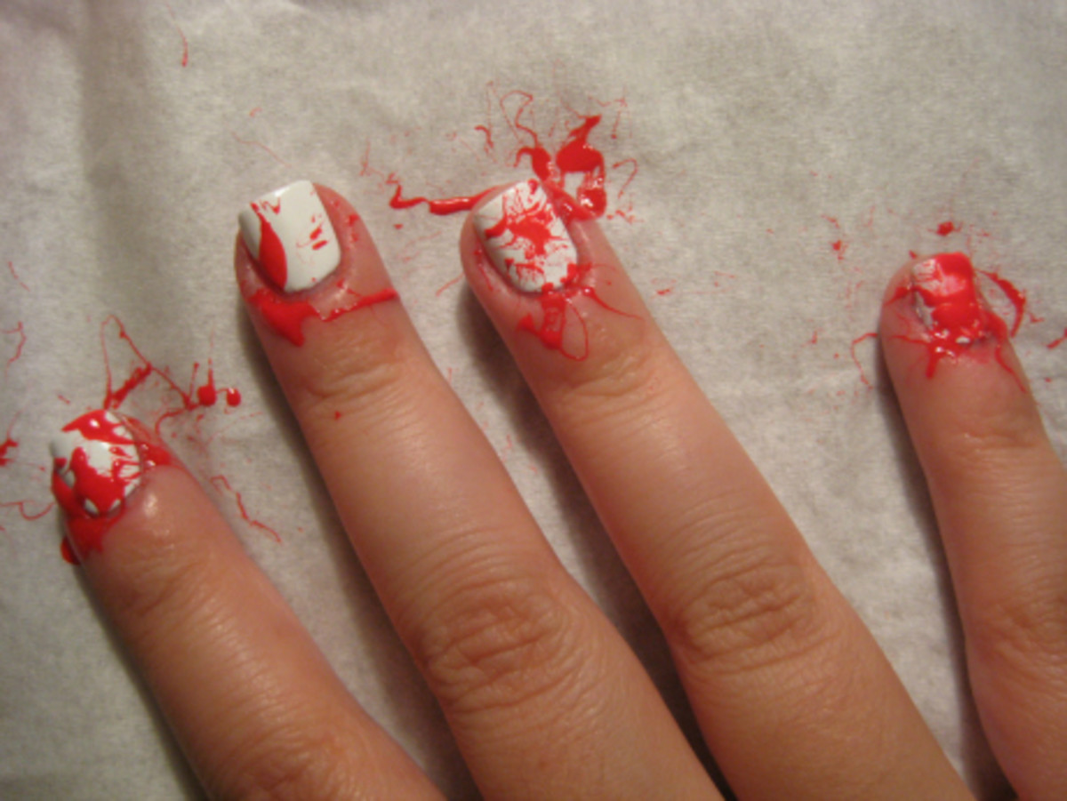 Try this blood splatter nail art tutorial for halloween blood splatter manicure step 3 prinsesfo Gallery