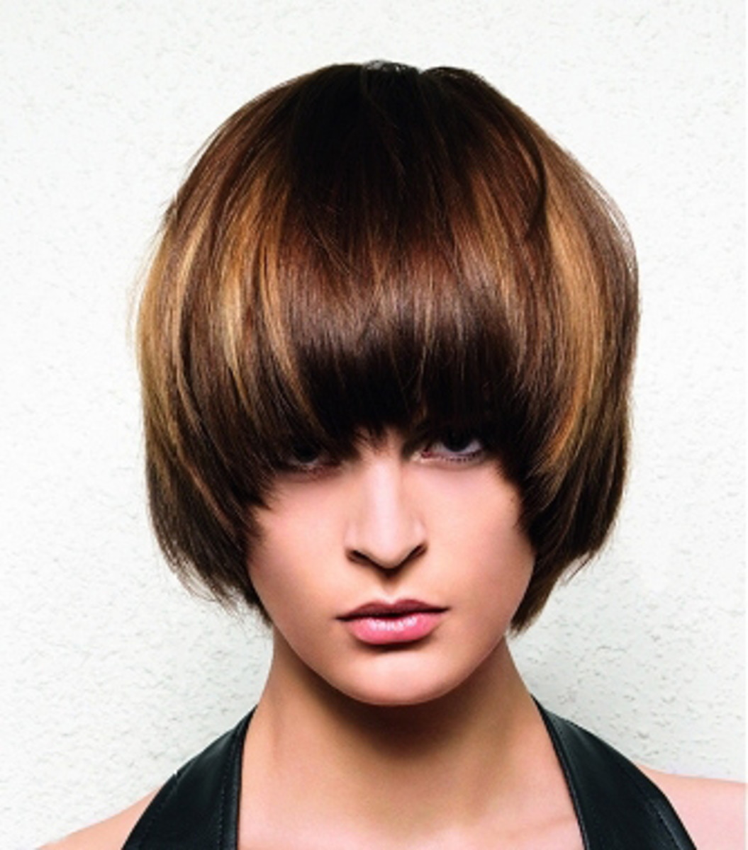Rounded bob with bangs