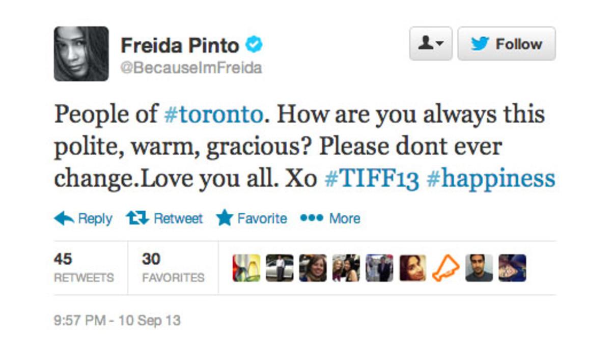 Freida Pinto Toronto Tweet