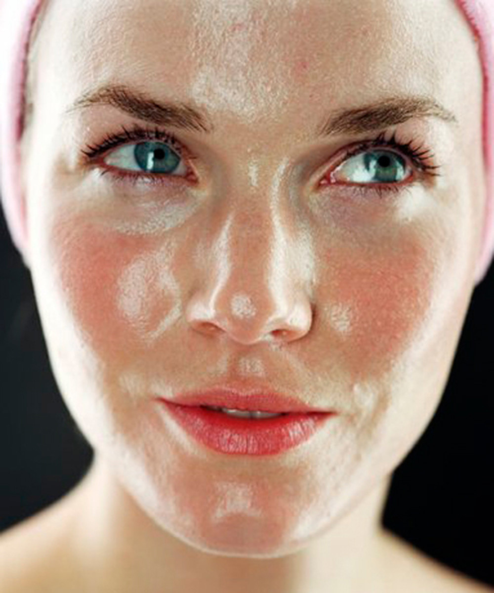 Woman with oil on face