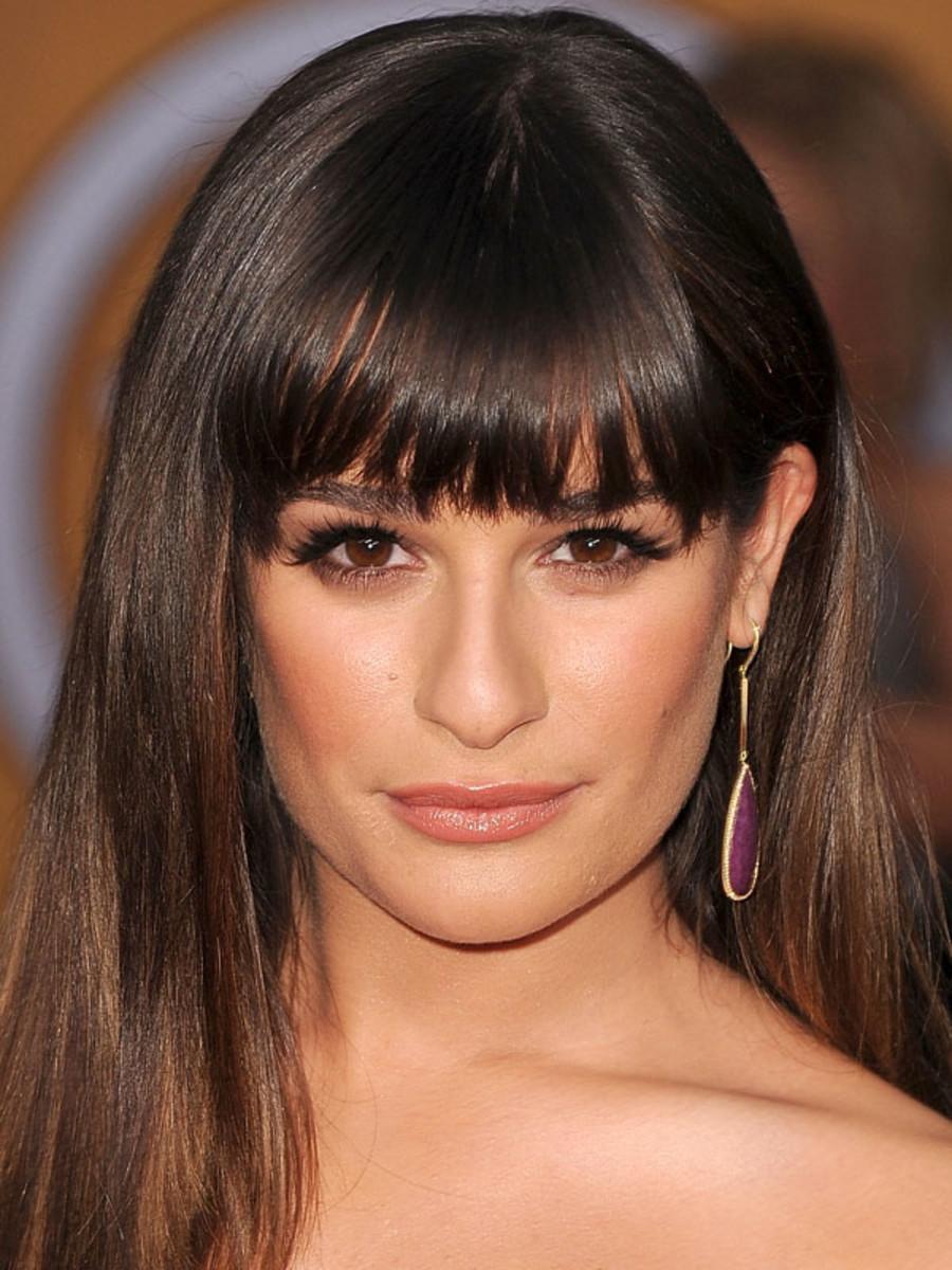 Lea Michele square face bangs