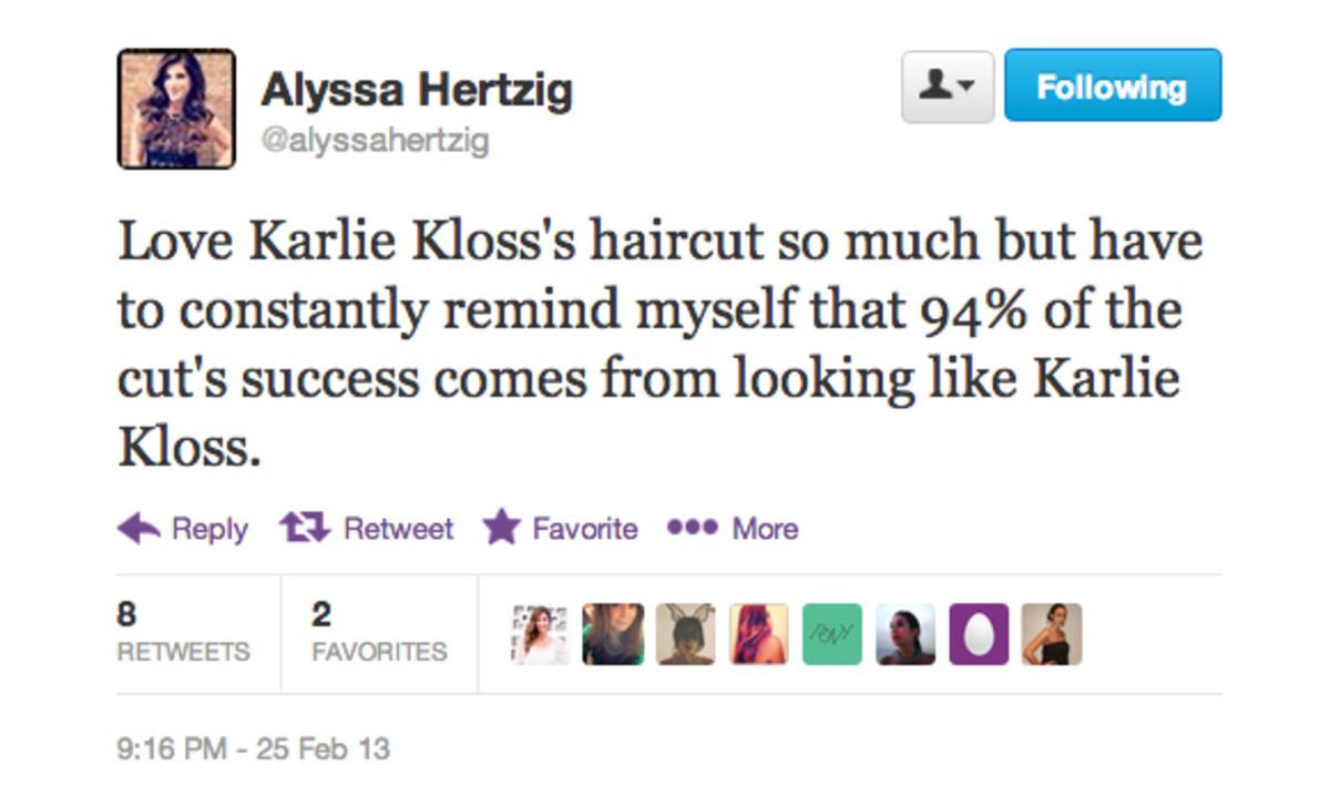 Alyssa Hertzig Karlie Kloss tweet