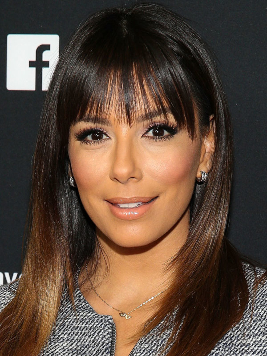 Eva Longoria heart face bangs
