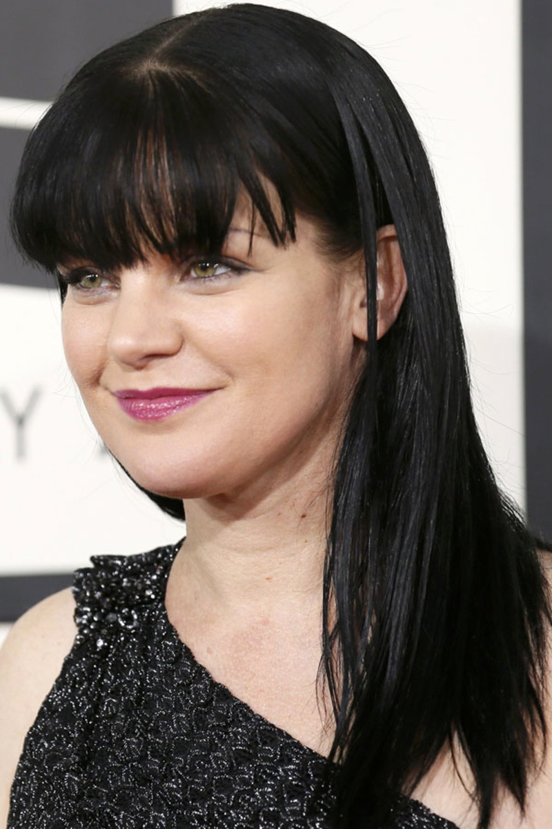 Actress Pauley Perrette arrives at the 56th annual Grammy Awards in Los Angeles
