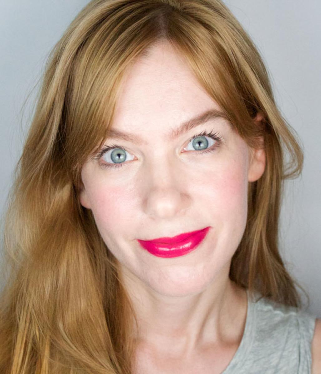 Manic Panic Lipstick in Cleo Rose (on lips)