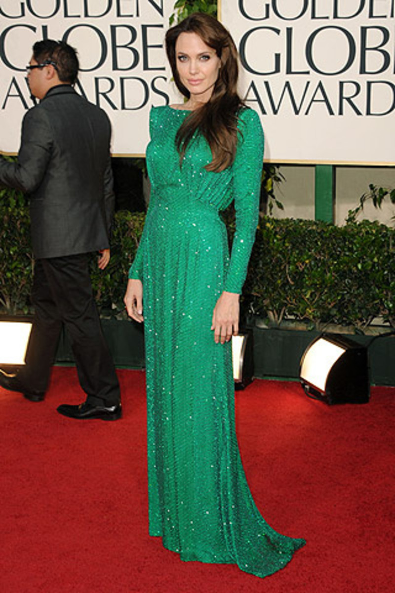 Angelina Jolie - emerald green Versace dress
