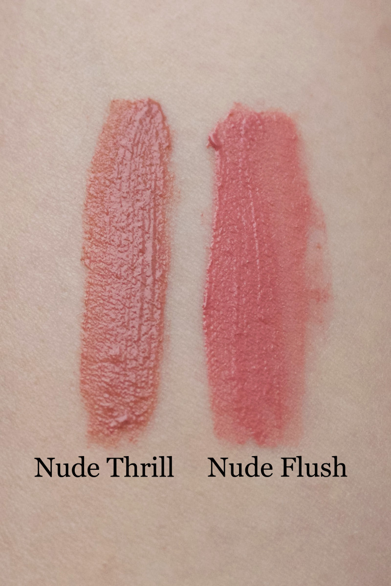 Maybelline Vivid Matte Liquid Lip Color in Nude Thrill and Nude Flush swatches