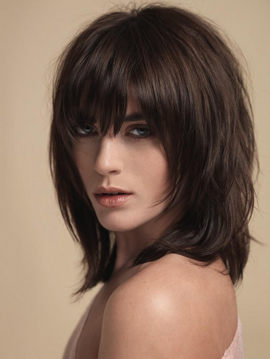 Natural brown shag haircut