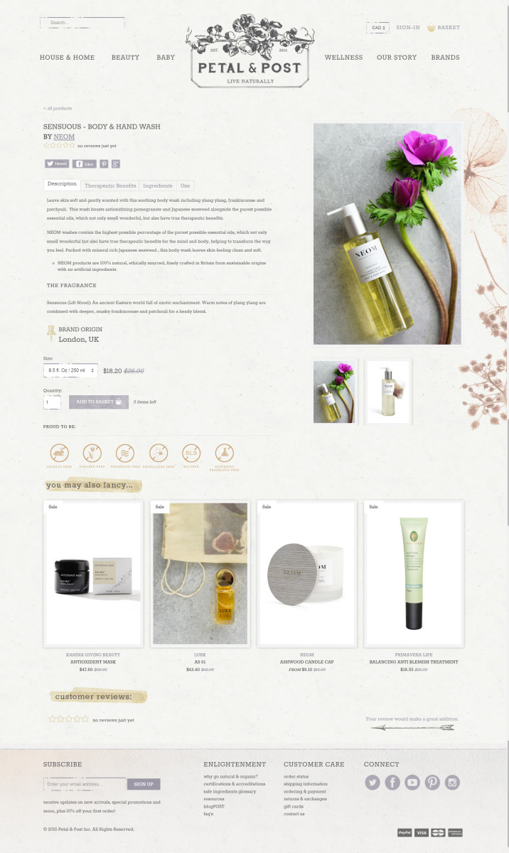Petal and Post product page