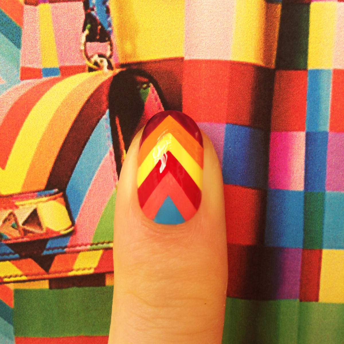 Madeline Poole for Sally Hansen chevron nails