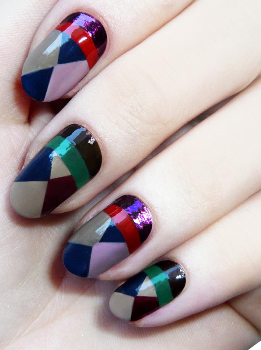 Madeline Poole geometric nail art