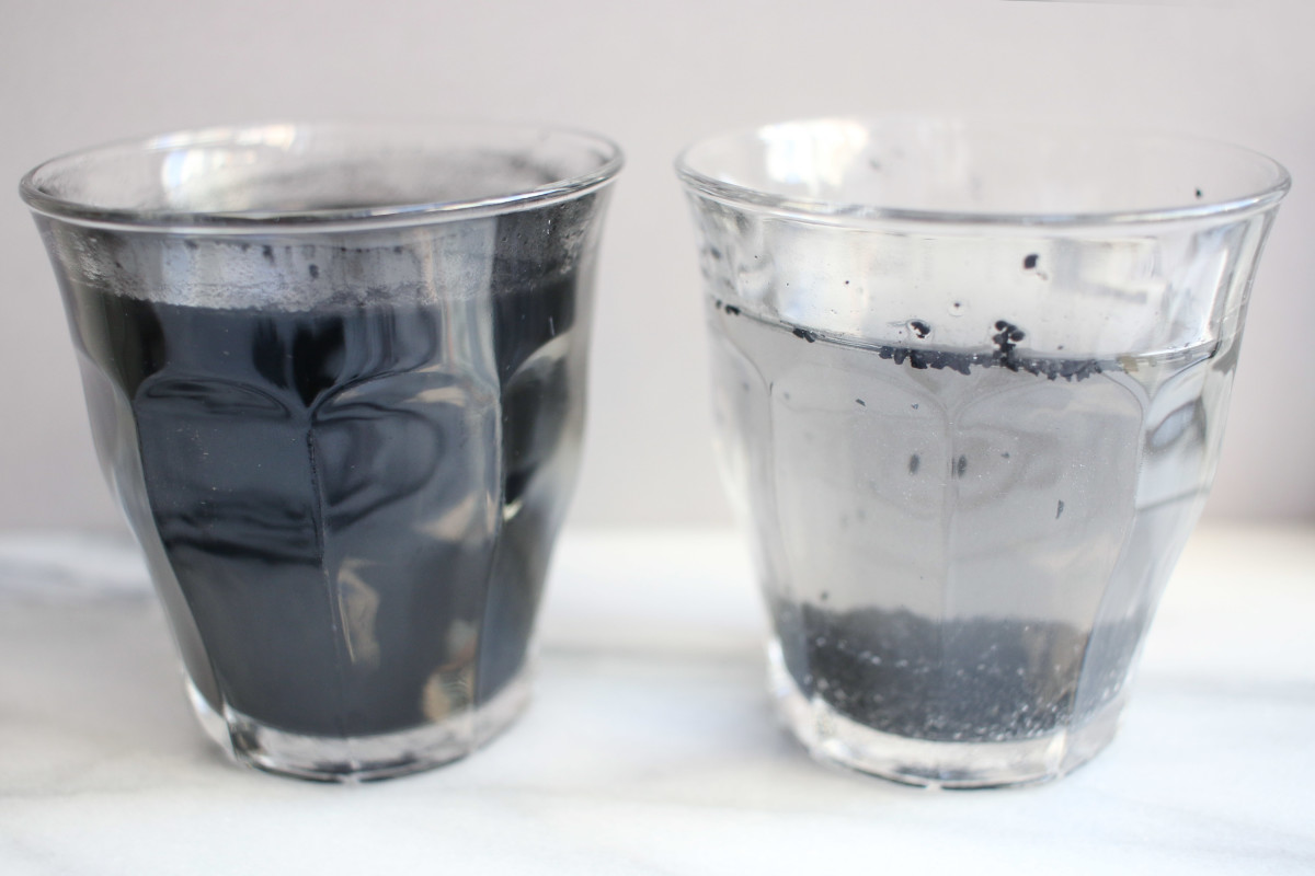Activated charcoal in water