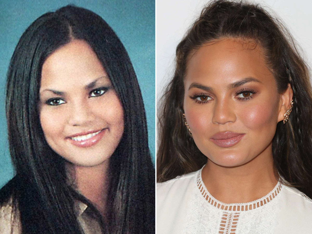 cheek contour before and after. chrissy teigen before and after cheek contour