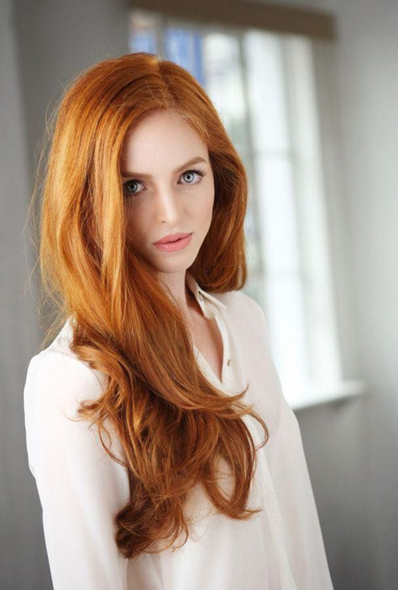 Red hair with long layers