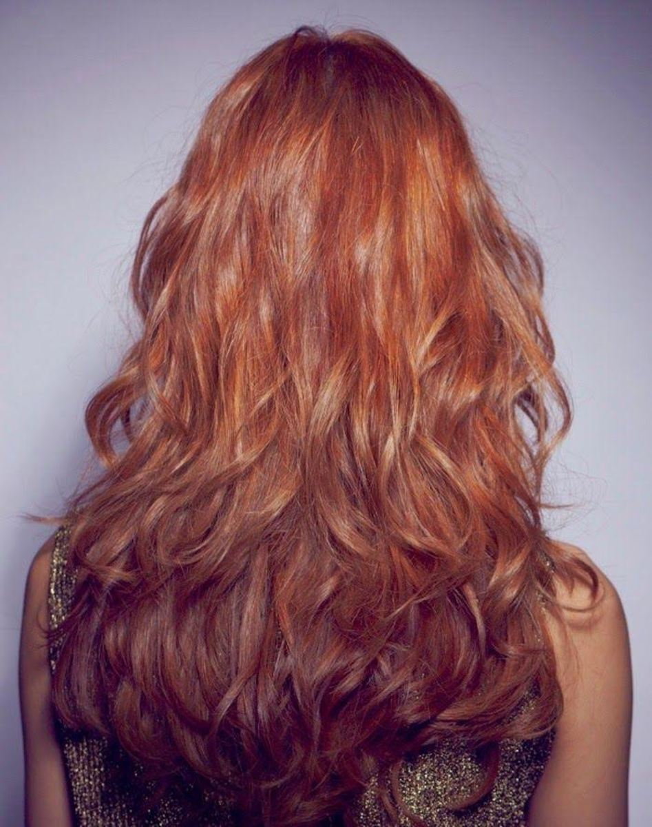 Layered waves in red hair