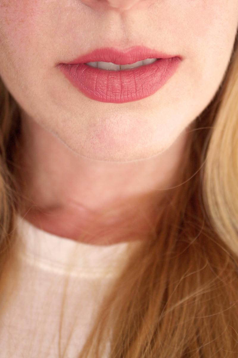 Bite Beauty Multistick in Papaya (on lips)