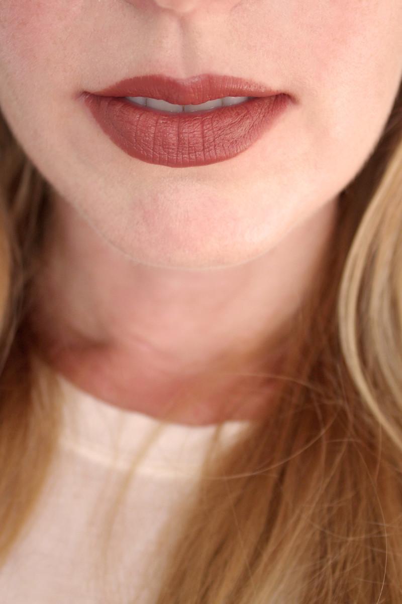 Bite Beauty Multistick in Almond (on lips)