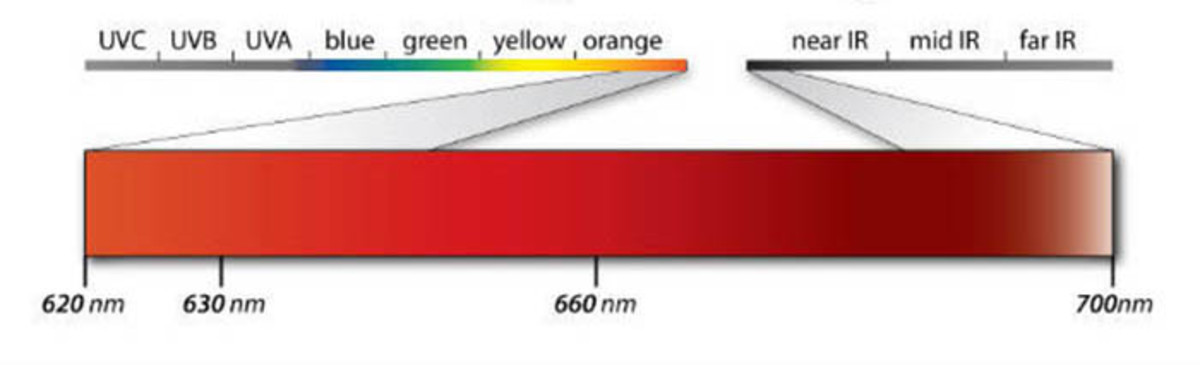 Wavelengths of red light