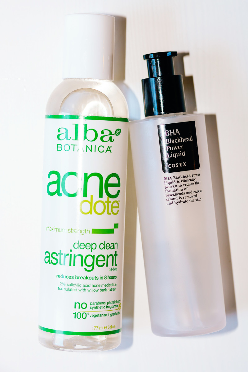 Alba Botanica Acnedote Deep Clean Astringent, COSRX BHA Blackhead Power Liquid