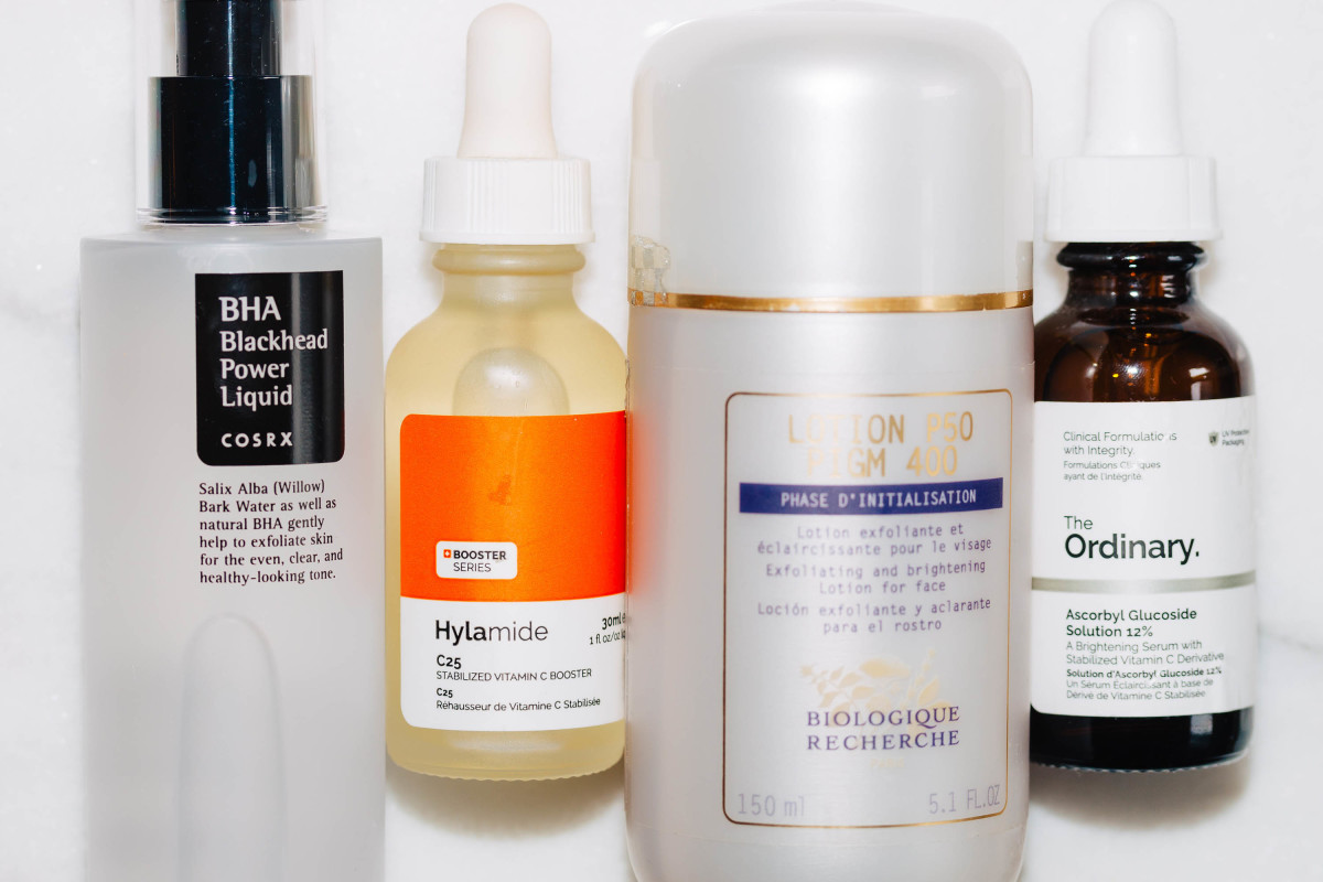 Acids and vitamin C skincare routine