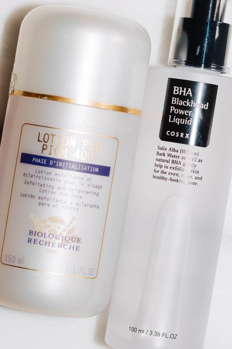 Biologique Recherche Lotion P50 PIGM 400 and COSRX BHA Blackhead Power Liquid