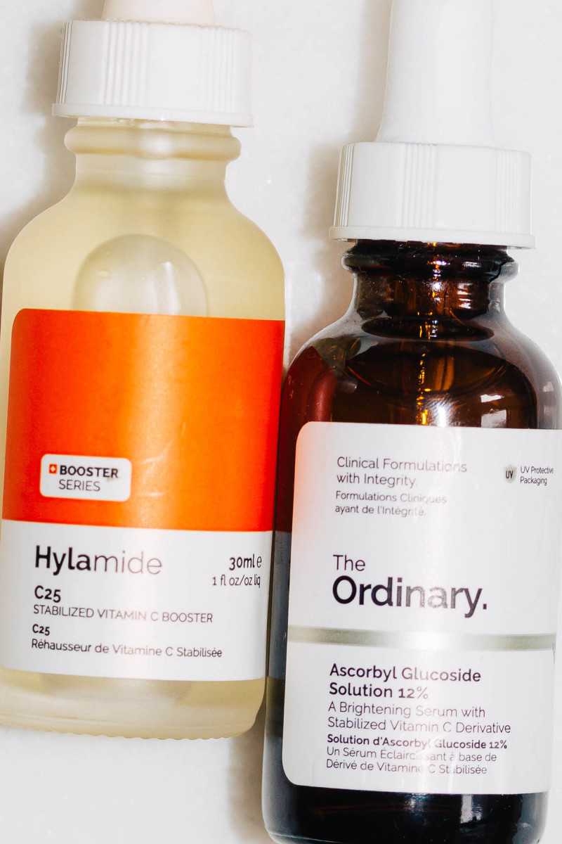 Hylamide C25 Stabilized Vitamin C Booster and The Ordinary Ascorbyl Glucoside Solution 12 Percent