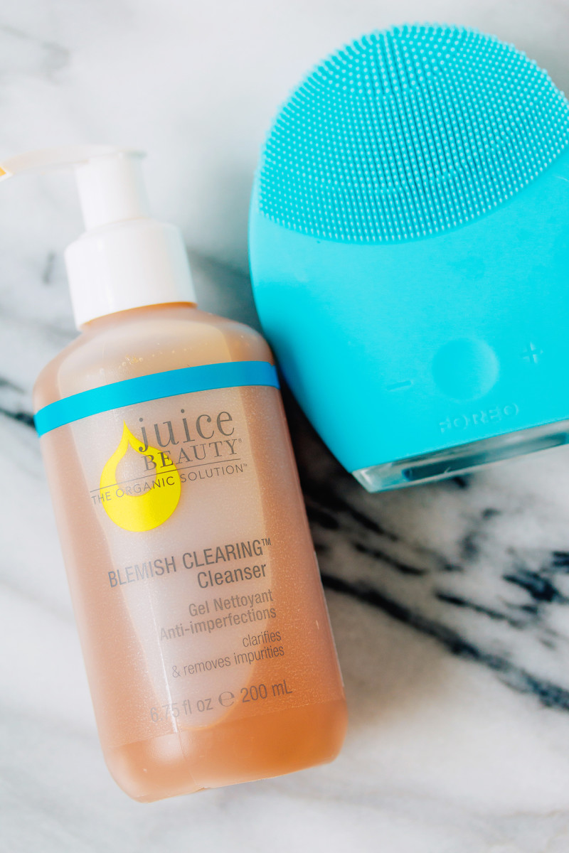 Winter skincare routine - cleanser and cleansing brush